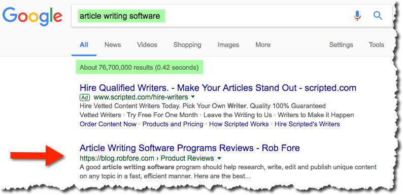 Article Writing Search